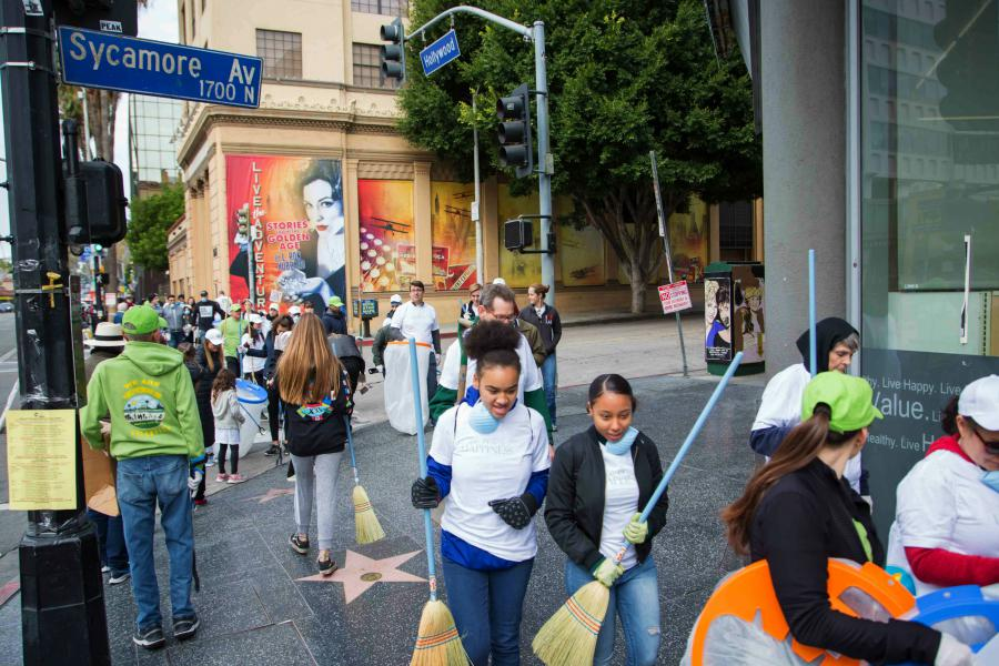 The Hollywood Village initiative cleaned up Hollywood Boulevard for the annual Christmas Parade.