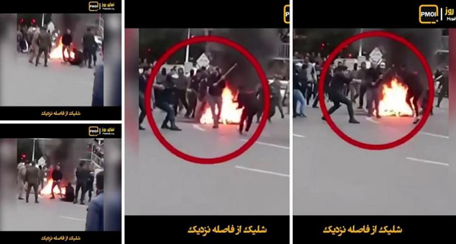 November 2019 protests-Security forces and plainclothes shoot a protester at point blank and then axe him