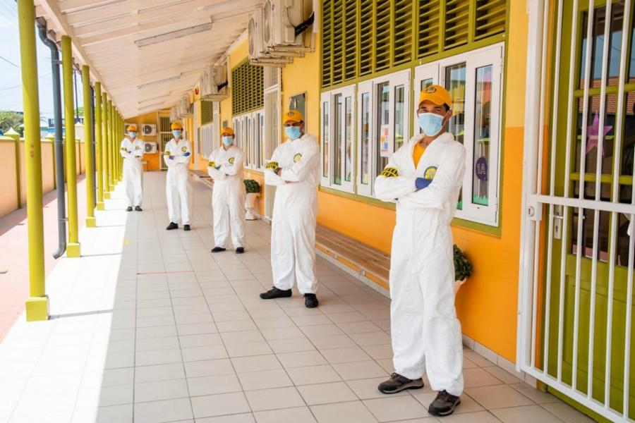 One of the Scientology Volunteer Ministers sanitization teams from the Freewinds religious retreat.
