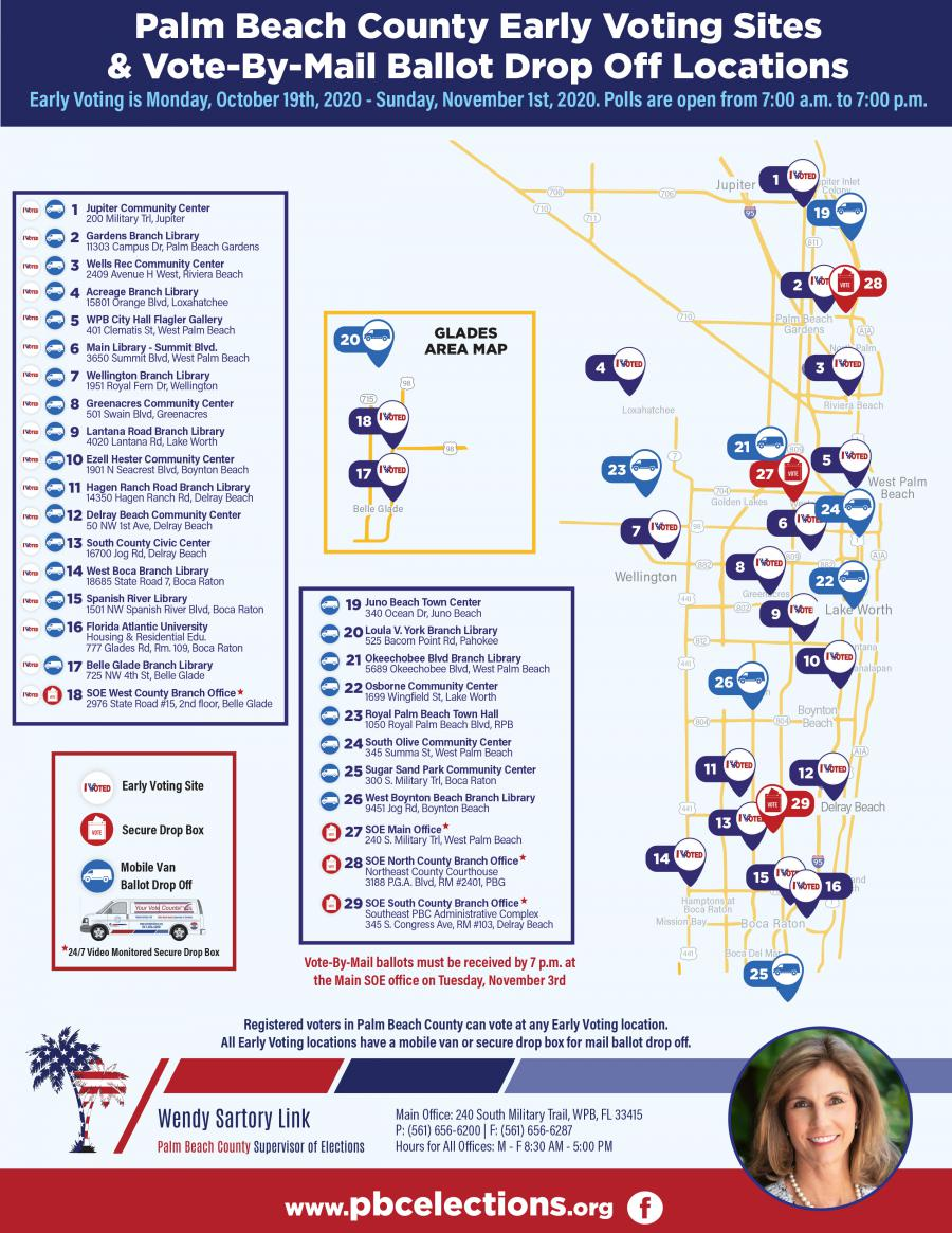 Palm Beach County Early Voting Sites & Vote-By-Mail Ballot Drop Off Locations