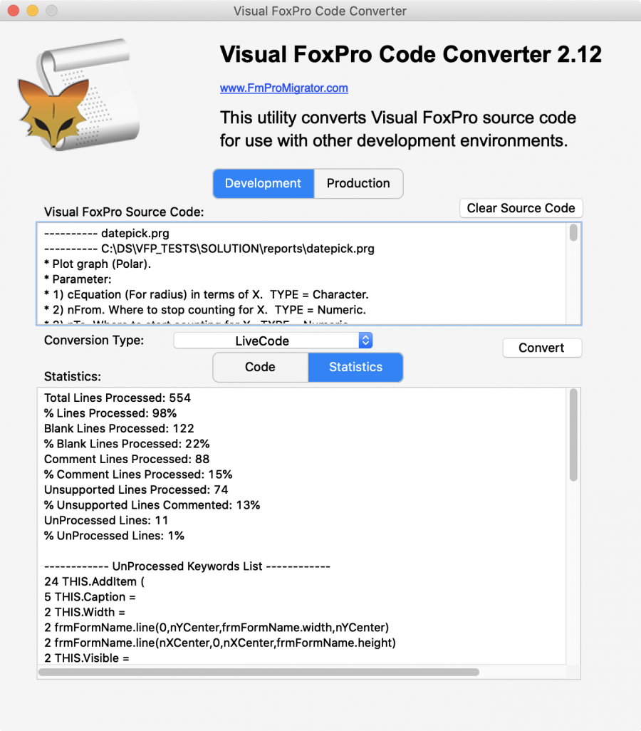 Visual FoxPro Code Converter - VFP Code Conversion Utility