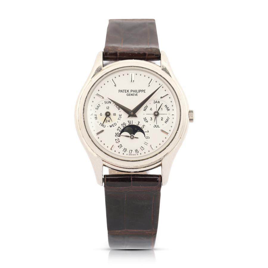 Patek Philippe Reference 3940 perpetual calendar men's watch with 18kt white gold case and clasp (CA$50,150).