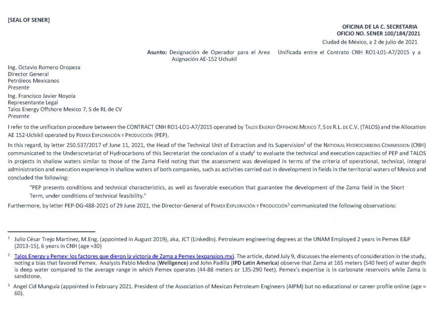Letter of Energy Minister Rocío Nahle to Talos (p. 1), July 2, 2021