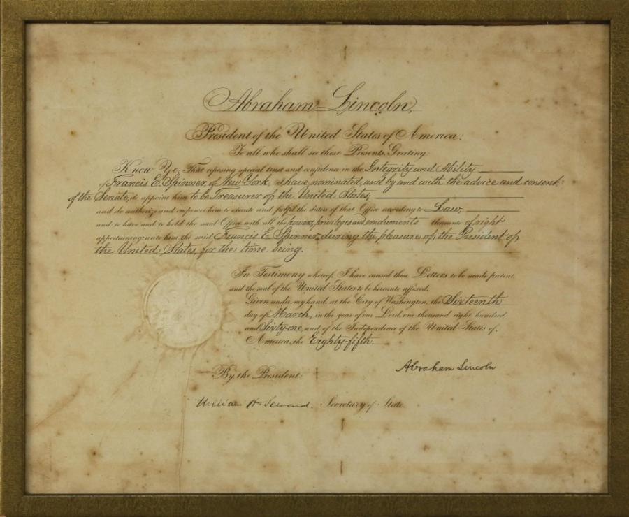 Civil War document signed by then-President Abraham Lincoln in 1861, naming Francis E. Spinner as U.S. Treasurer. Estimate: $4,000-$6,000.