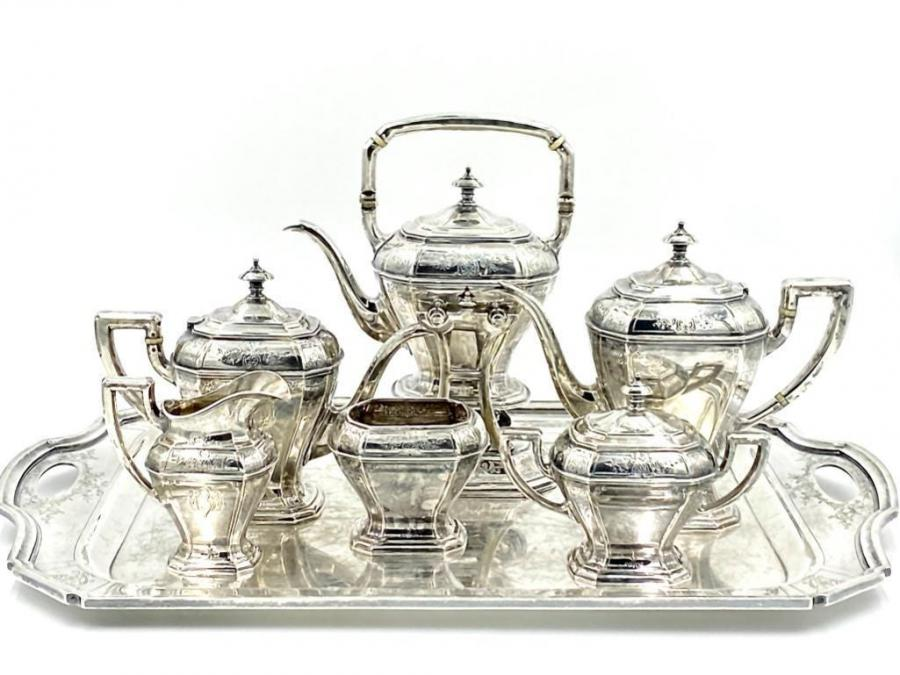 Reed and Barton sterling tea service with matching sterling silver tray, pattern 910, having a kettle on a stand, weighing 287 oz. troy ($6,765)