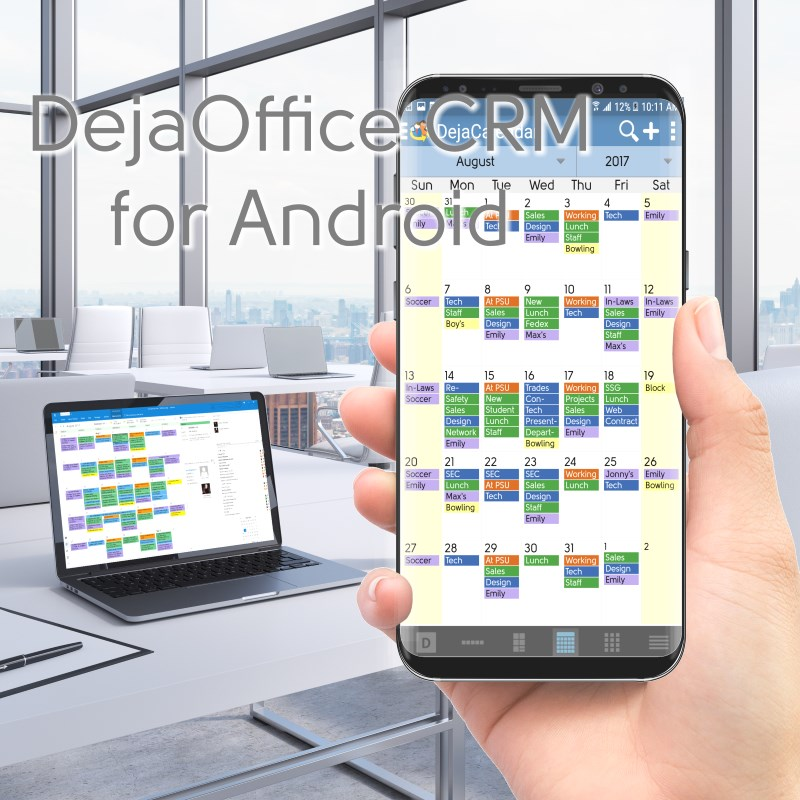DejaOffice CRM for Android with Outlook Sync using CompanionLink
