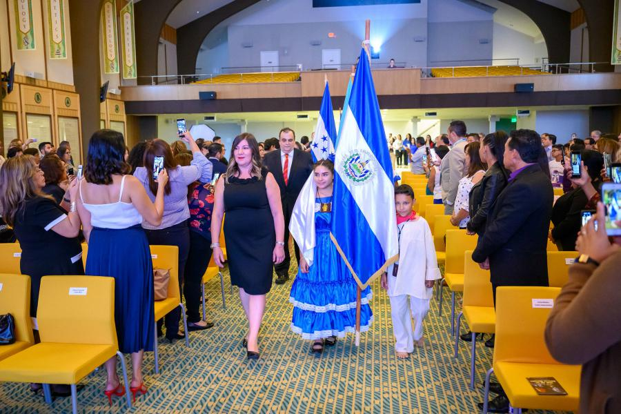 Children in traditional costumes proudly bore the flags of their countries on Central American Independence Day at the Church of Scientology of the Valley.