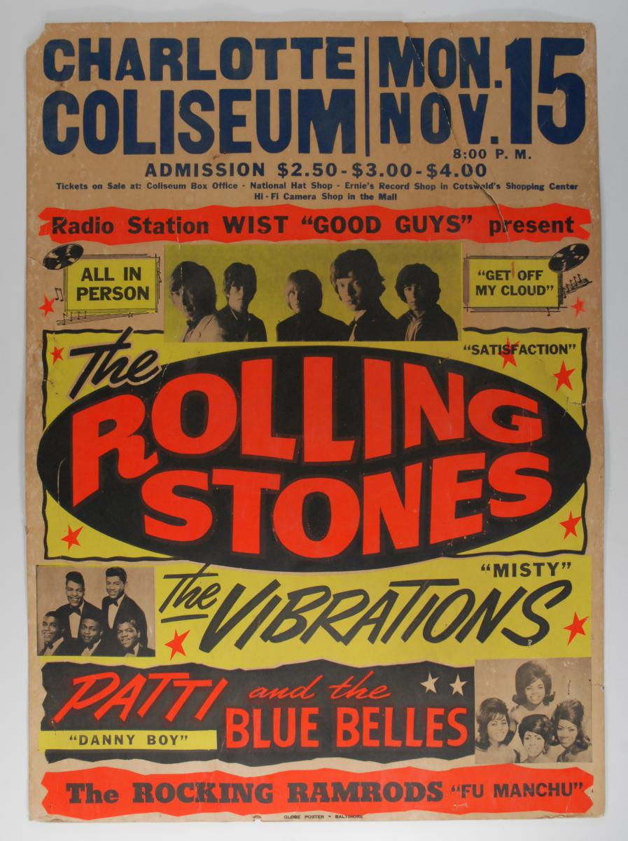 A $10,000 reward is offered for this Rolling Stones Charlotte Coliseum 11/15/65 concert poster.
