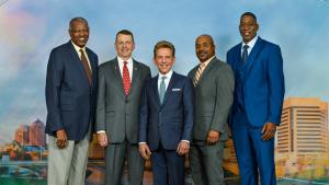 MR. DAVID MISCAVIGE with (left to right):  Dr. John Howard, Columbus Basketball Legend Assn.; Honorable Adam Miller, State Rep. for Ohio's 17th House District; Albert Long Jr., Executive Officer for the Ohio School Boards Black Caucus; and Willie Burton, former NBA star