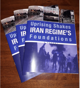 picture of the cover of NCRIUS released a 60-page report, Uprising Shakes Iran Regime's Foundations