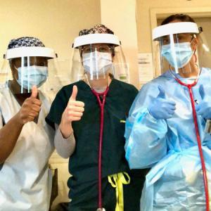 Nurses wearing BOMBARDIER Made Face Guards featuring SPEEDWRAP Hook & Loop Fasteners
