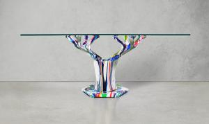 Edenic Design's finished Teâshí Coffee Table collaboration with artist Callen Schaub. Edenic and Callen are receiving commission requests from private collectors for new paintings of the Teâshí Coffee Table which, of which only 100 metal bases have been produced.