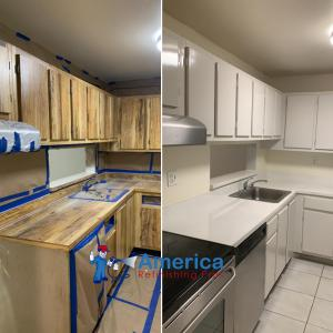 Before and after picture of a cabinet refinishing service by America Refinishing Pros