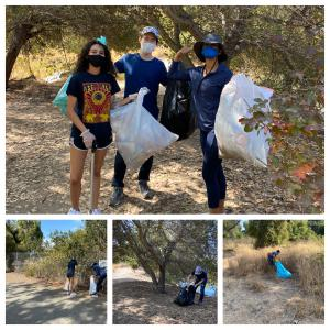 A collage is shown of different individuals picking up trash at Alameda Creek.
