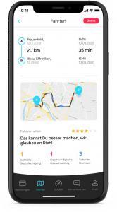 Bildschirmfoto kasko2go App, Bewertung Fahrverhalten