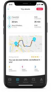 Screenshot kasko2go app, evaluation driving manner