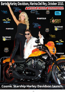Jack Armstrong Cosmic Artist and Gretchen Taylor. Orange County Housewives pose at the Million Dollar Harley red carpet gala launch in Marina Del Rey 2010