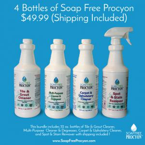 Tile & Grout Cleaner, Multi-Purpose  Cleaner & Degreaser, Carpet & Upholstery Cleaner, and Spot & Stain Remover