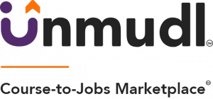 "A purple, orange, and black logo of Unmudl that reads ""Course-to-Jobs Marketplace"""