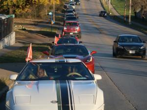 Long line of cars rides through Kansas City on the Second bimonthly  Peace Ride Sunday, November 1, to unite diverse communities to take action against mounting homicides.