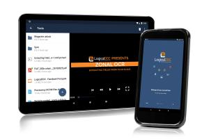 Smartphone and Tablet with LogicalDOC Mobile streaming a video