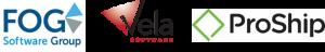 Logos of FOG Software, Vela Software, and ProShip Inc.