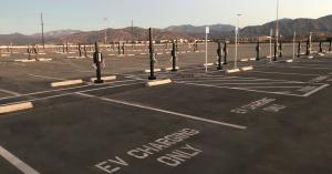 Rows of EVSEs on Fairplex main parking lot