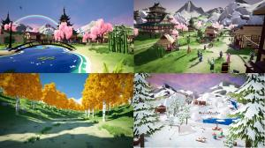 Some colorful scenes from the New Horizons virtual world.