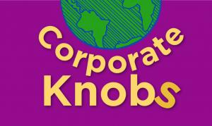 logo corporate knobs with illustrated world and the words corporate knobs with the S out of alignment