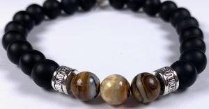 Fossilized mammoth tooth bead bracelet
