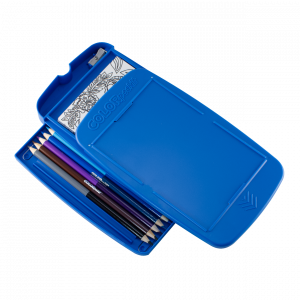 COLORpockit™ is a portable coloring system with a lightweight, durable, high-quality plastic case containing 12 coloring postcards, 12 double-sided colored pencils, and a built-in sharpener.