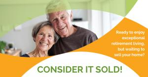 Photo of two older adults on a flyer that promotes webinar for real estate trends and home selling for senior living move