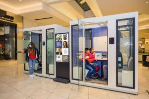 ZenSpace Westfield Valley Fair Pods In Use Meeting phonebooth workspace URW