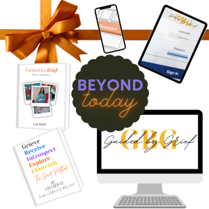 This is image of a collection of devices and books: a tablet, a smart phone, a desktop and a Guided by Grief Always Remember book by Lisa Bovee, and The Grief Method book by Lisa Bovee with a burnt orange colored ribbon and bow.