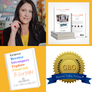 This is block of four separate images: one image of Lisa Bovee, one image of Lisa Bovee's book Guided by Grief, one image of Lisa Bovee's book, The Grief Method, and one image of Guided by Grief's Beyond Today Partner Seal which is designed with a gold se