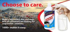 1000+ Stain Remover expands its performance capabilities to include a dual-action spray cleaner concentrate function.