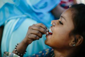 Young girl in Nepal receives preventive treatment (SDR-PEP) for leprosy