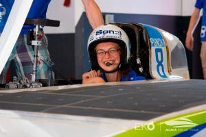 An Agoria Solar Team driver prepares to get underway at the Bridgestone World Solar Challenge in 2019.