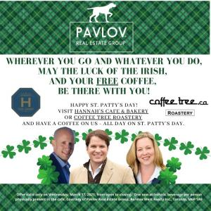 Free coffee at Hannah and Coffeetree on St. Patty's Day