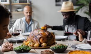 Sunil Jagani enjoying a Thanksgiving spread with friends