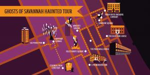 This is a map of the Ghost's of Savannah haunted walking tour.  It shows the map illustrating the path the tour takes and stops on the tour.  The haunted stops include squares, hotels, cemetery and haunted spots in savannah Georgia.