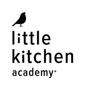 Black Little Kitchen Academy logo with black bird image