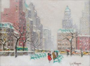 Winter view of Washington Square Park in New York City by Guy Wiggins.