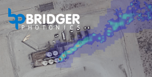 This image shows LiDAR imaging of a methane plume coming from a production site, which is an example of Bridger Photonics technology.