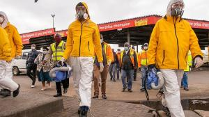 Scientology Volunteer Ministers of South Africa carry portable foggers to decontaminate all the taxis in this fleet.