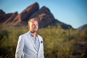 Image of Ville Houttu, CEO of Vincit USA with desert background