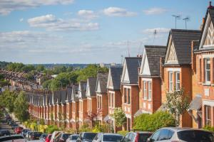 Identical English terraced houses in Crouch End, London