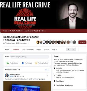 """The podcast's supporters, called """"Lifers,"""" began to wear pink or red on Fridays and post pictures of support on the private Facebook page - Real Life Real Crime – Friends & Fans Krewe."""