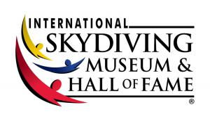 The International Skydiving Museum & Hall of Fame Logo features stylized skydivers in yellow, blue, and red.