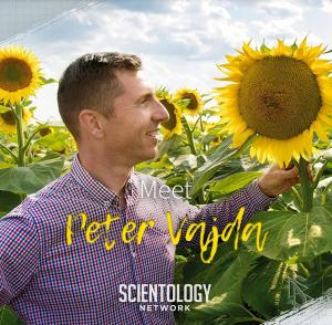 In his episode of Meet a Scientologist on the Scientology Network, Vajda shows how his company uses science and technology to rehabilitate once-barren farmland such as this field where sunflowers now grow once again in abundance.